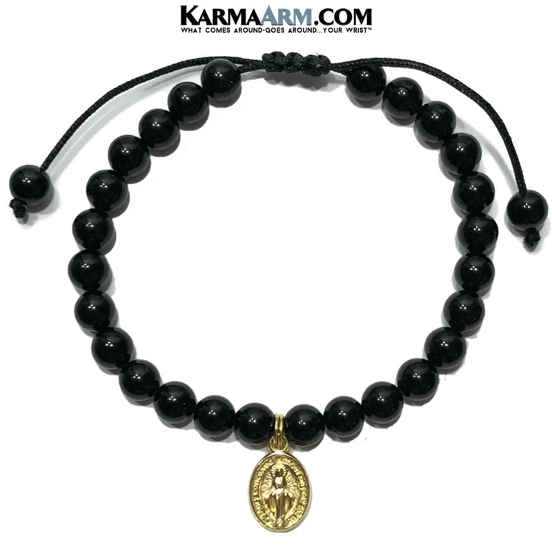 Miraculous Medal Wellness Self-Care Meditation Yoga Bracelets. Mens Wristband Jewelry. Black Onyx.