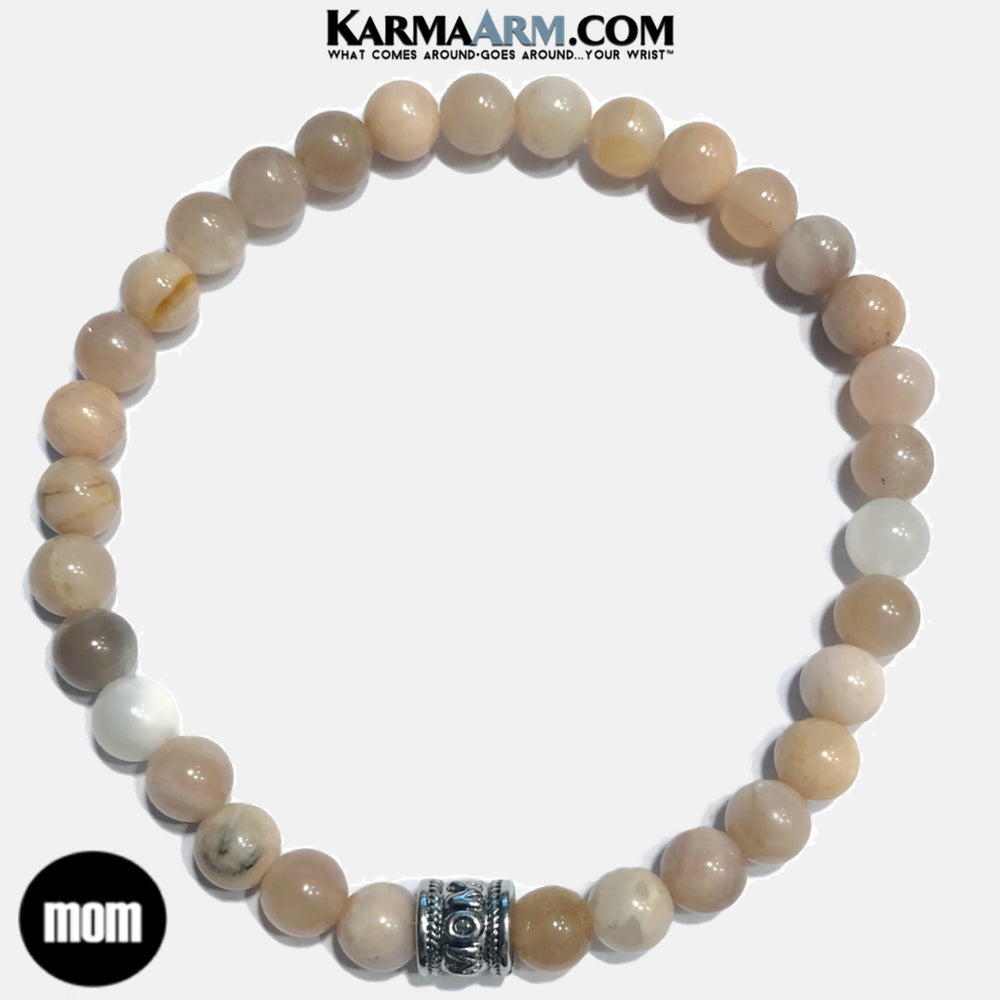 Mom Mothers Day Meditation Mens Bracelet. Self-Care Wellness Wristband Yoga Jewelry. Sunstone.