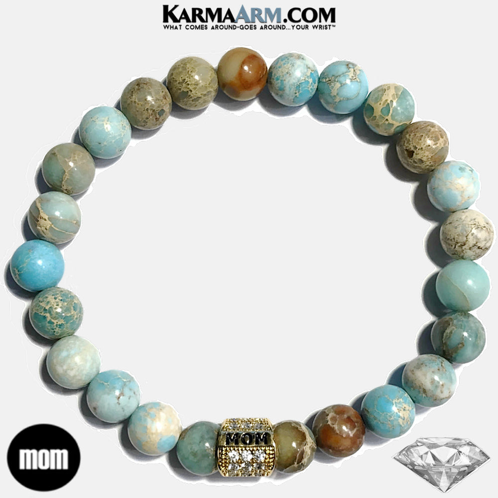 Mom Mothers Day Yoga Bracelet . Mindfulness Meditation Mens Self-Care Wellness Wristband Bead Jewelry. Sea Sediment Jasper.