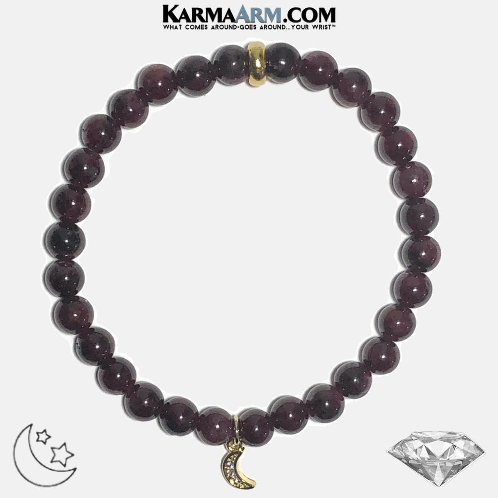 Moon Meditation Mantra Yoga Bracelets. Mens Wristband Jewelry. Garnet. Diamond.