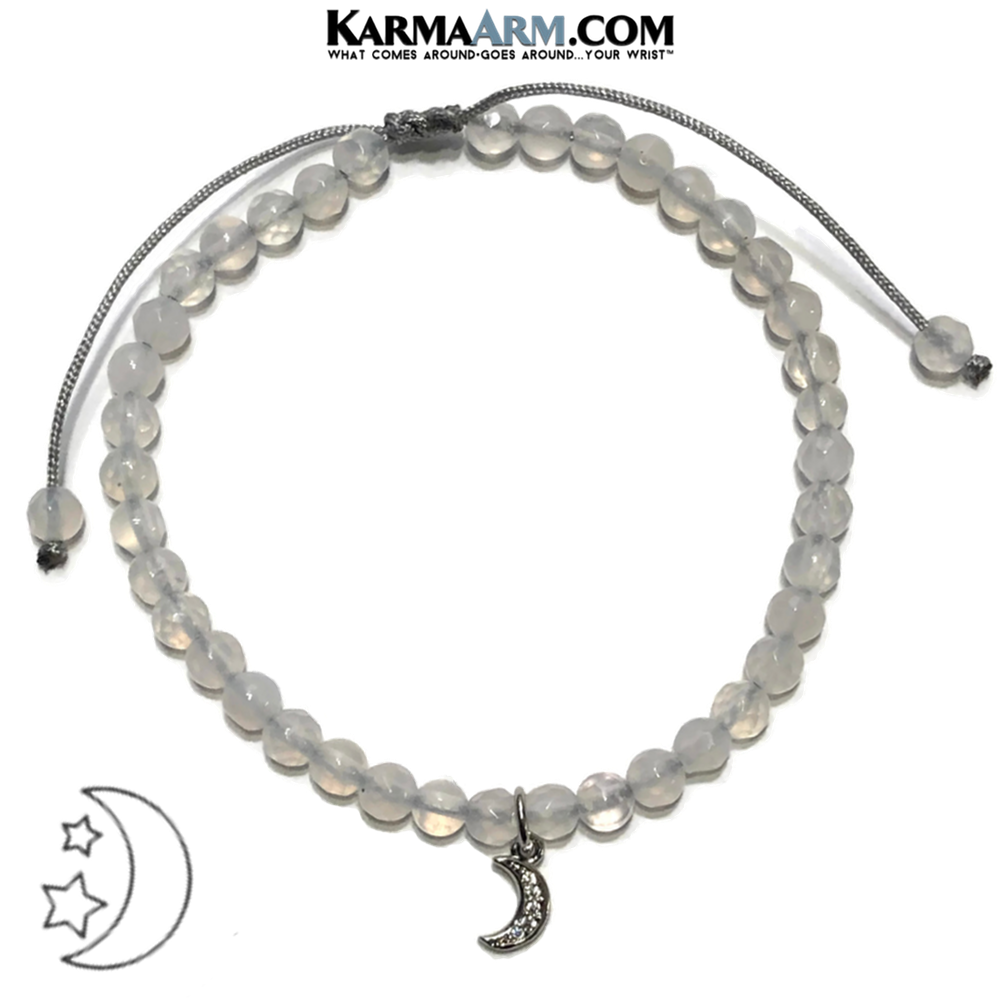 Moon Charm Meditation Mantra Yoga Bracelet. Self-Care Wellness Wristband White Jade.