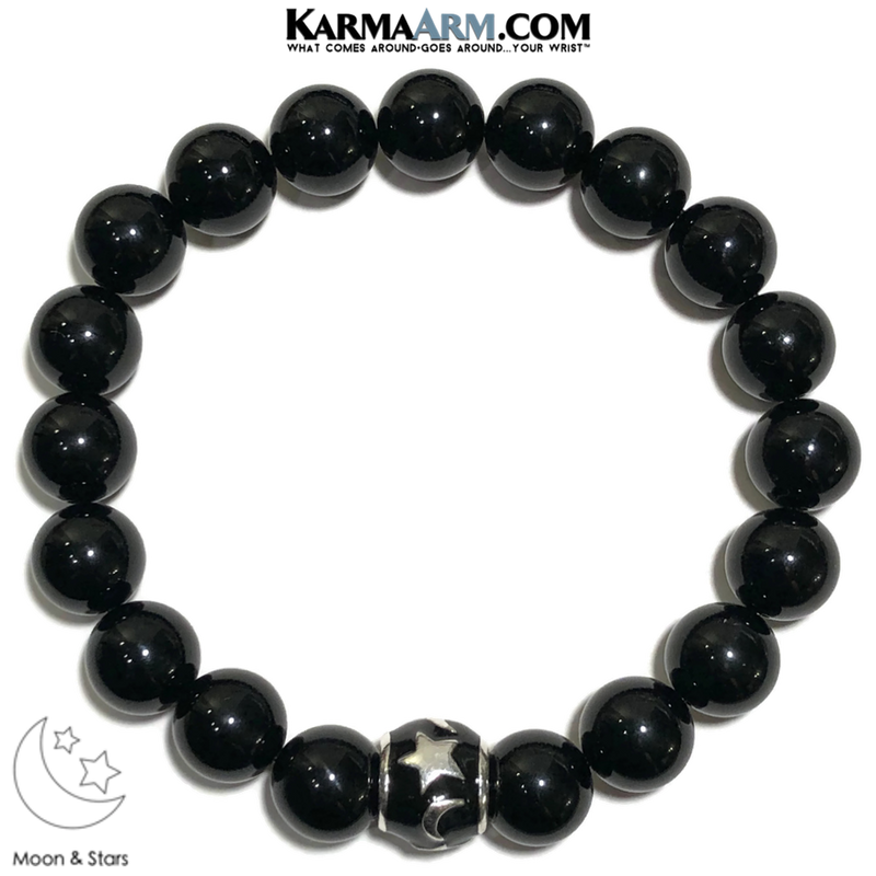 Moon & Stars Meditation Self-Care Wellness  Yoga Bracelets. Mens Wristband Jewelry. Black Onyx.