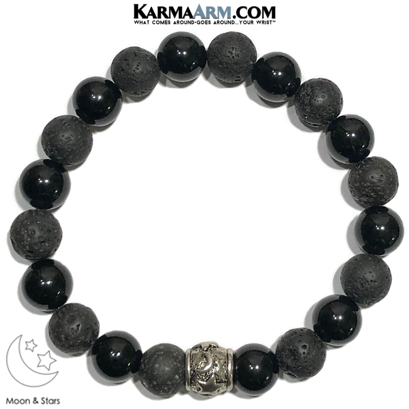 Moon Starts Wellness Self-Care Meditation Yoga Bracelets. Mens Wristband Jewelry. Black Onyx.