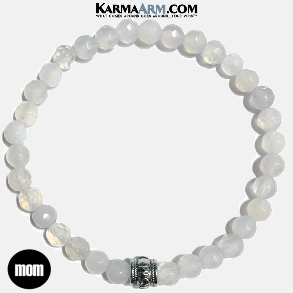 Mothers Day Gift. White Jade Meditation Mantra Yoga Bracelet. Self-Care Wellness Wristband .