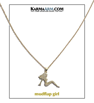 Necklace | MUDFLAP GIRL | CZ Diamond | Gold Stainless Steel Chain Necklace