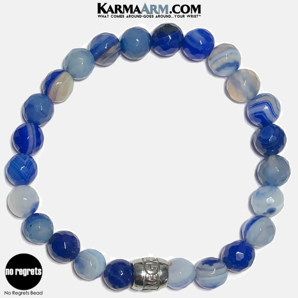 NO REGRETS Meditation Mantra Yoga Bracelets. Self Care Wellness Wristband Jewelry.  Faceted Blue Banded Agate.