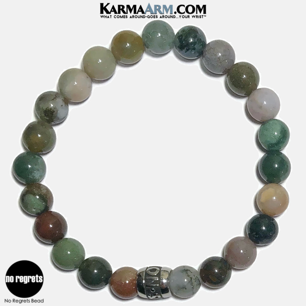 NO REGRETS Meditation Mantra Yoga Bracelets. Self Care Wellness Wristband Jewelry.  Indian Agate.