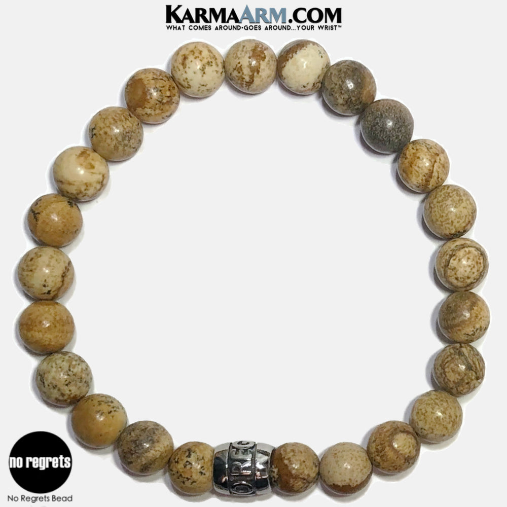 NO REGRETS Meditation Mantra Yoga Bracelets. Self Care Wellness Wristband Jewelry.  Picture Jasper.