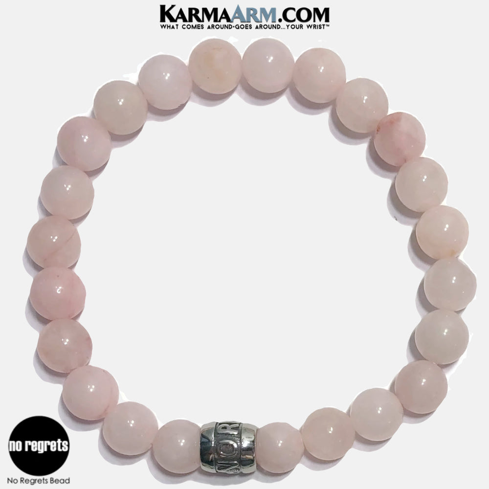 NO REGRETS Meditation Mantra Yoga Bracelets. Self Care Wellness Wristband Jewelry.   Rose Quartz.