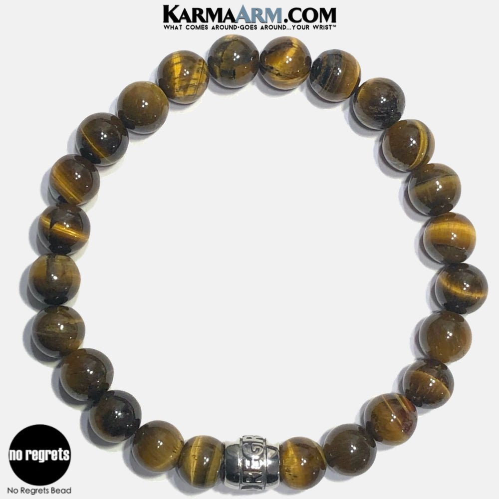 NO REGRETS Meditation Mantra Yoga Bracelets. Self Care Wellness Wristband Jewelry. Tiger Eye.