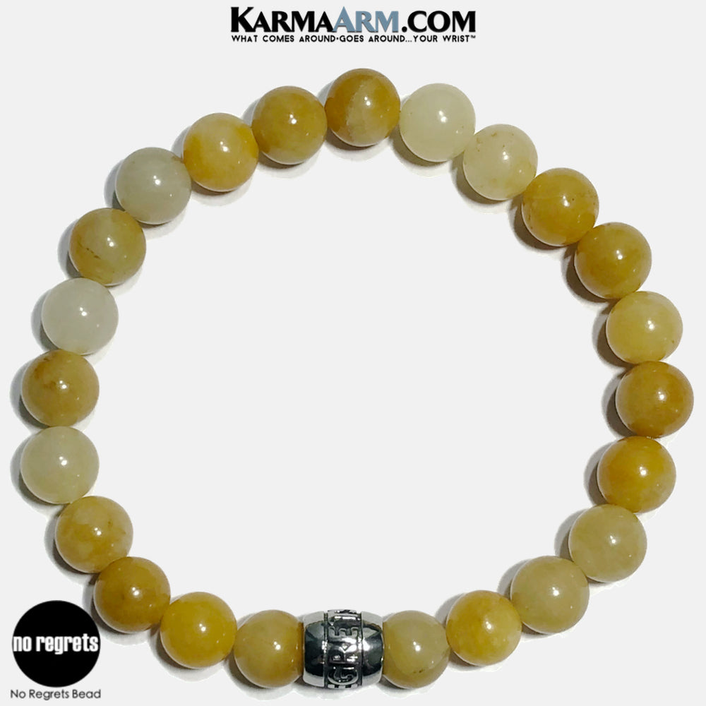 NO REGRETS Meditation Mantra Yoga Bracelets. Self Care Wellness Wristband Jewelry. Yellow Aventurine. copy 12