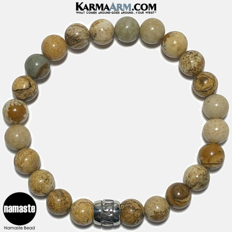 Mantra Motivation Bracelet | Picture Jasper | NAMASTE Bead Bracelet