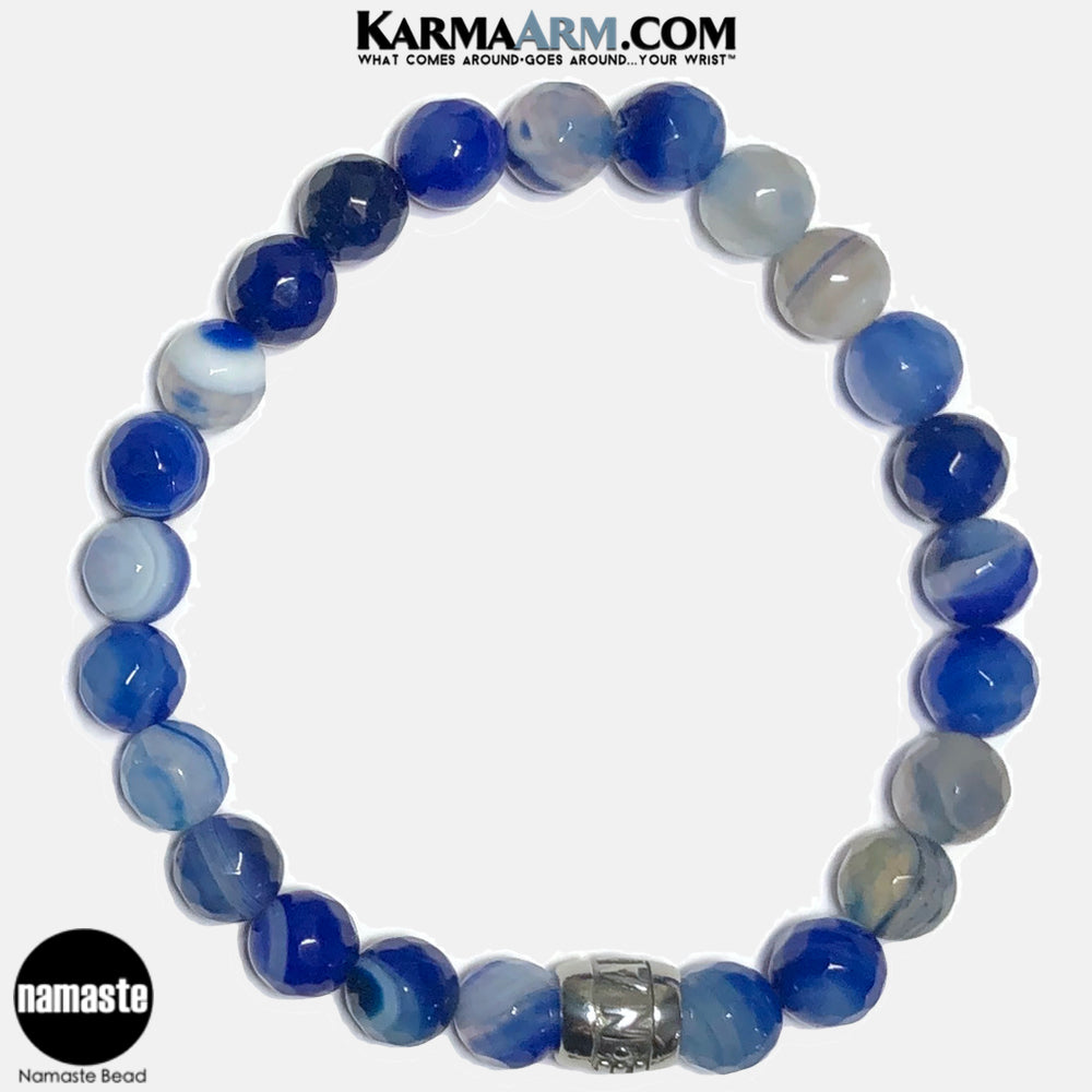 Namste Meditation Mantra Yoga Bracelets. Self Care Wellness Wristband Jewelry.  Faceted Blue Banded Agate.