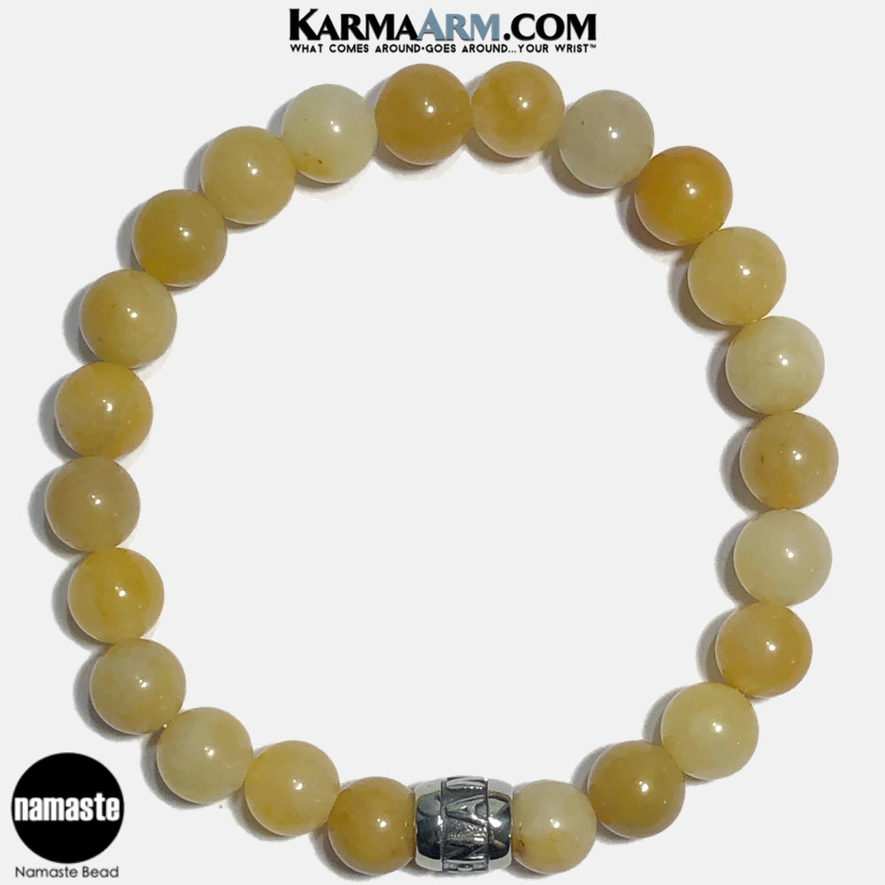 Namste Meditation Mantra Yoga Bracelets. Self Care Wellness Wristband Jewelry. Yellow Aventurine. copy 11