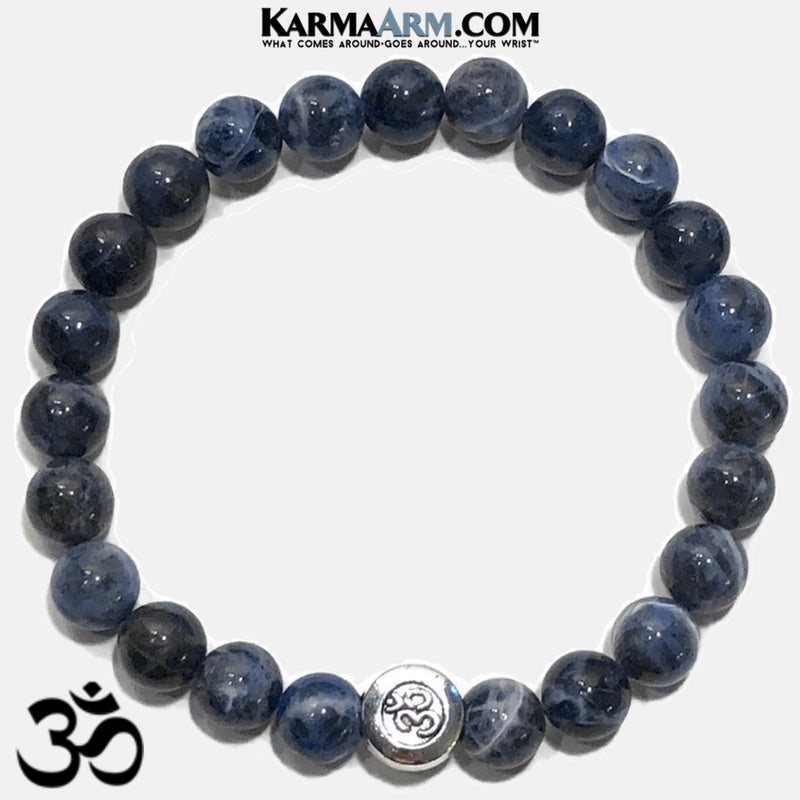 OM Mantra Sodalite Meditation OM Mantra Yoga Bracelet. Self-Care Wellness Wristband Zen bead mala Jewelry.