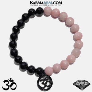 OM Mantra Yoga Bracelet. Meditation Self-Care Wellness Wristband Zen bead mala Jewelry. Pink Opal Black Onyx. copy