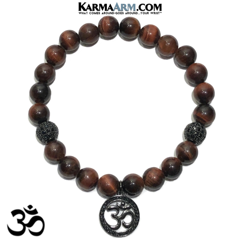 OM Charm Meditation Mantra Yoga Bracelets. Mens Wristband Jewelry. Red Tiger Eye.