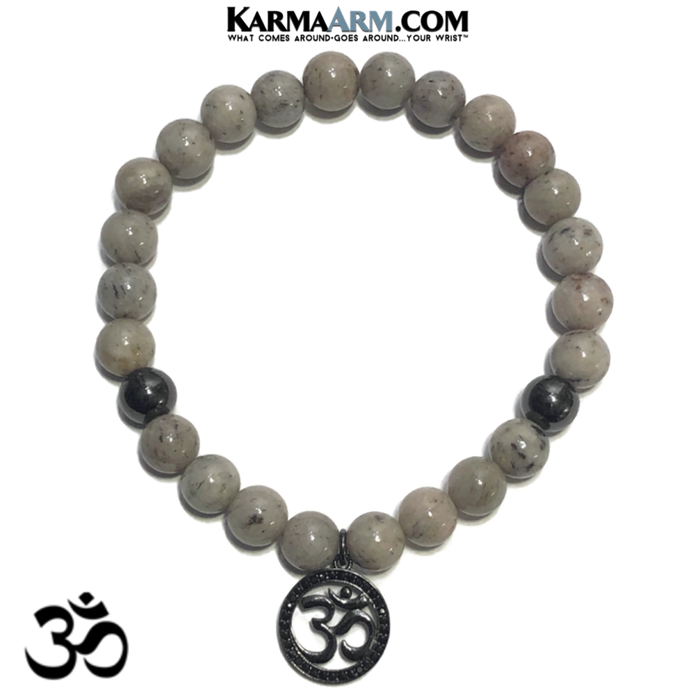 OM MANTRA Meditation Yoga Bracelets. Self-Care Wellness Wristband Jewelry. Grey Feldspar.