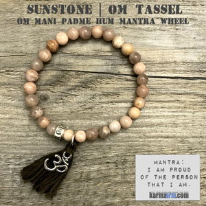 OM Mantra Charm Bracelets. Energy Healing. Handmade Men's Women's Luxury Beaded Mala & Jewelry. Law of Attraction. Manifest. #LOA. Sunstone.