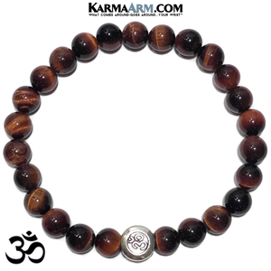 OM Mantra Self-Care Wellness Meditation Yoga Bracelets. Mens Wristband Jewelry. Red Tiger Eye.
