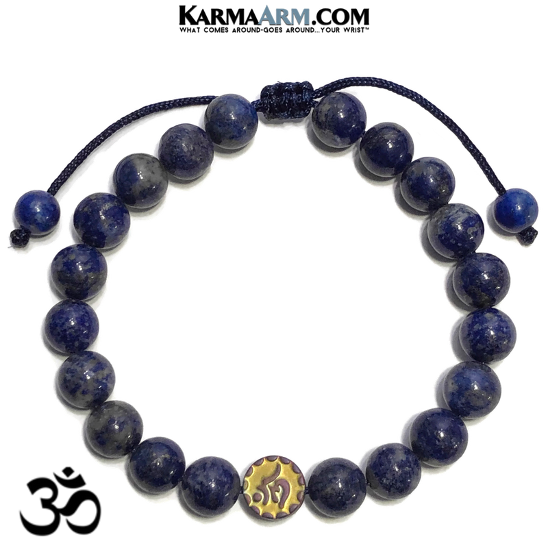 OM Mantra Wellness Meditation Mantra Yoga Bracelets. Mens Wristband Jewelry. Lapis.