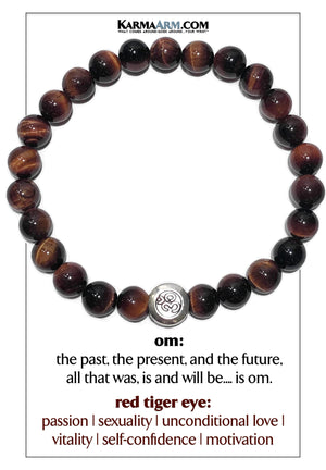 OM Mantra Self-Care Meditation Wellness oga Bracelets. Mens Wristband Jewelry. Red Tiger Eye.