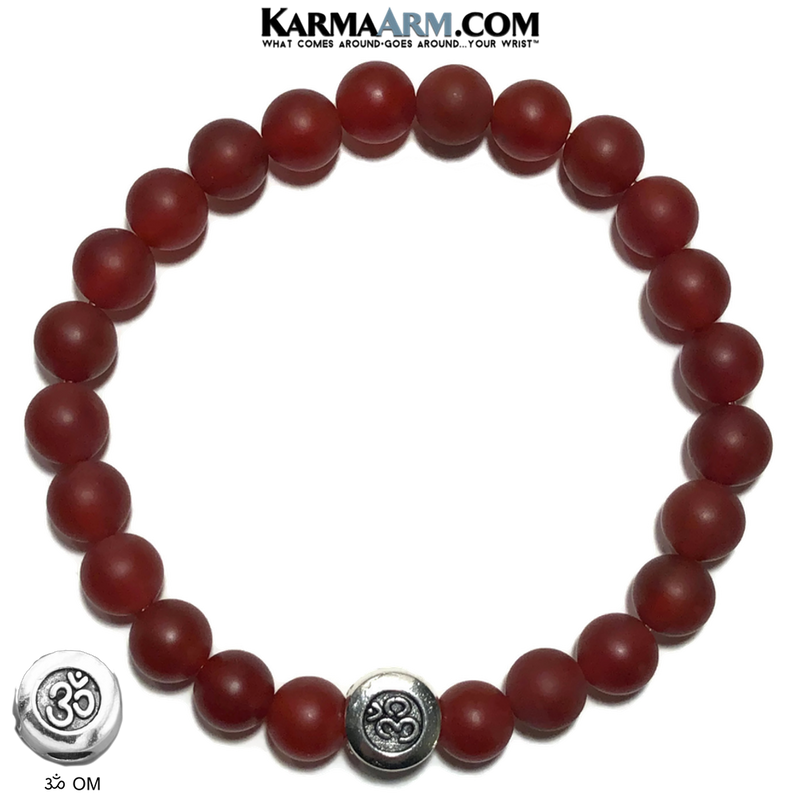 OM Mantra Yoga Bracelet. Meditation Self-Care Wellness Wristband Zen bead mala Jewelry. Red Agate.