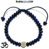 OM Meditation Mantra Yoga Bracelets. Mens Wristband Jewelry. Blue Jade.