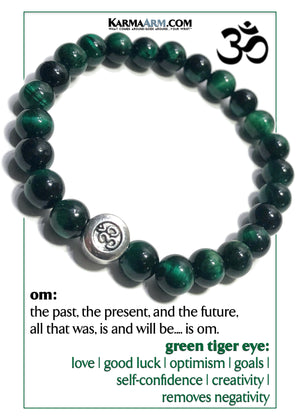 OM Minfulness Meditation Mantra Yoga Bracelets. Self-Care Wellness Wristband Jewelry. Green Tiger Eye.