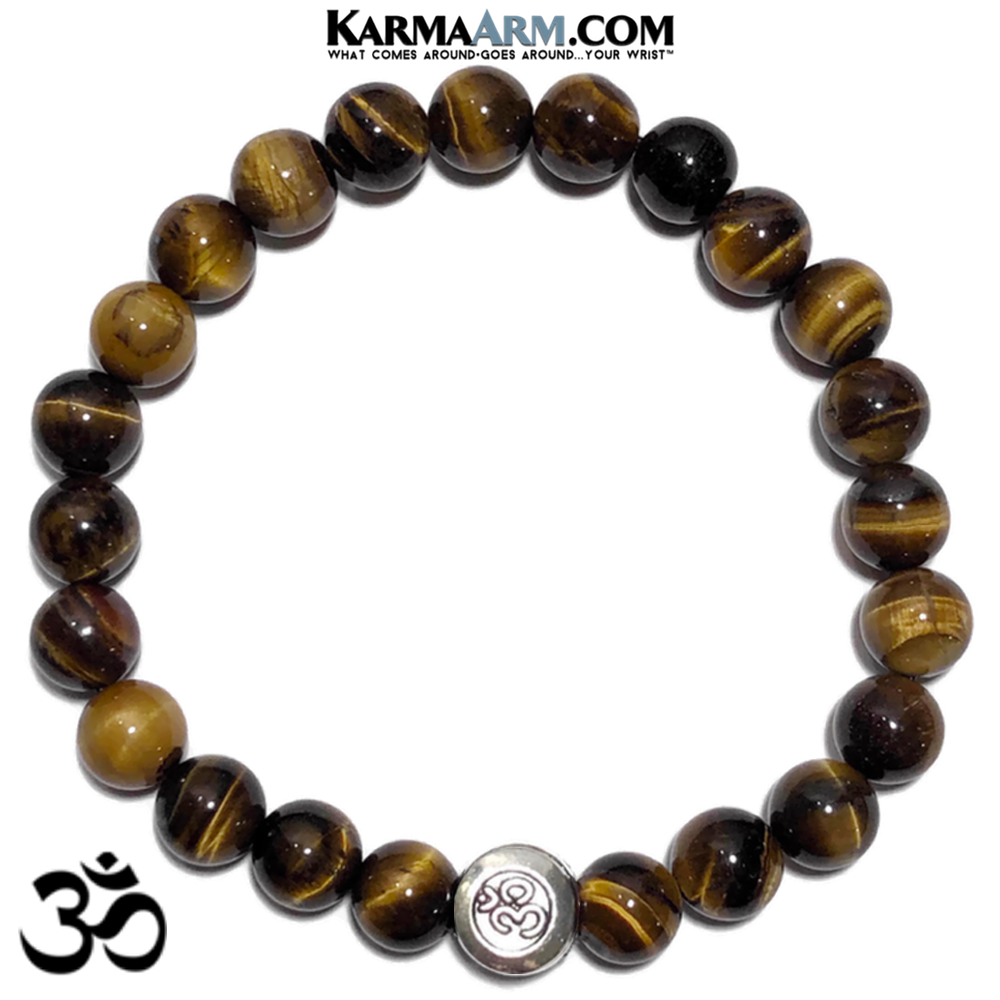 OM OHM AUM Meditation Mantra Self-Care Wellness Yoga Bracelets. Mens Wristband Jewelry. Tiger Eye.