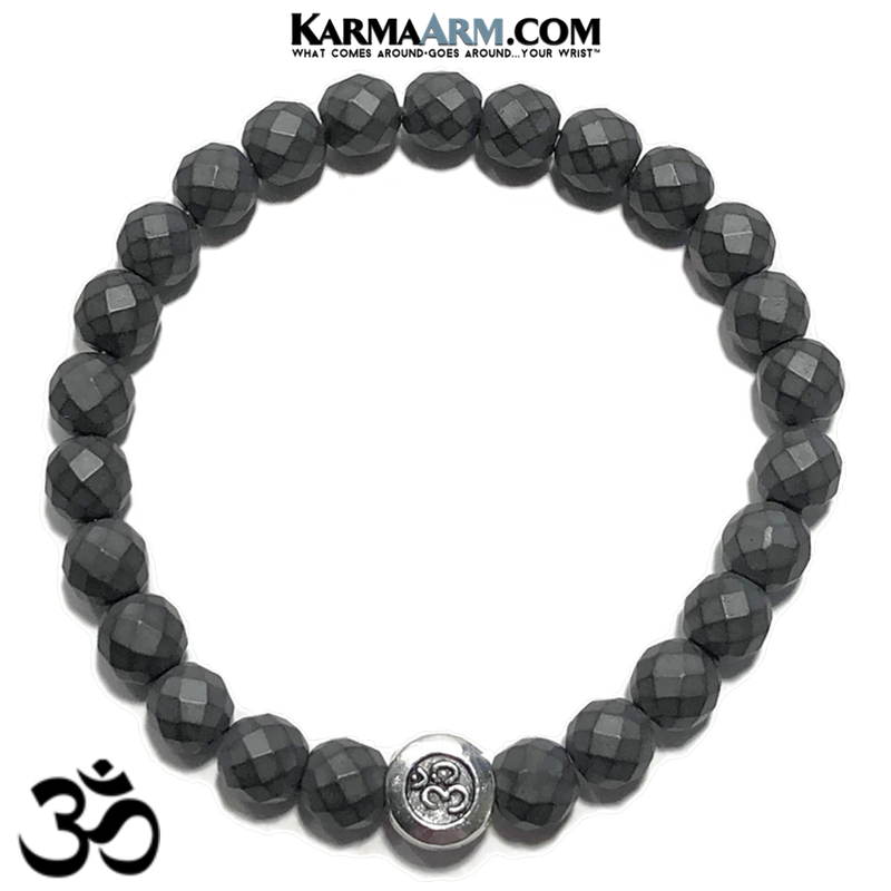 OM Ohm Aum Mantra Yoga Bracelet. Meditation Self-Care Wellness Wristband Zen bead mala Jewelry. Hematite.