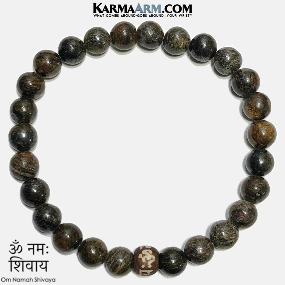 OM namah Shivaya Self-Care Mindfullness Wellness Meditation Yoga Bracelets. Mens Wristband Jewelry. Bronzite. copy