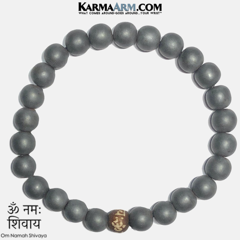 OM namah Shivaya Self-Care Mindfullness Wellness Meditation Yoga Bracelets. Mens Wristband Jewelry. Hematite.