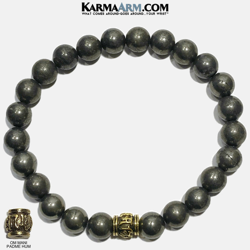 Om Mani Padme Hum Buddhist Meditation Self-Care Wellness Yoga Bracelets. Mens Wristband Jewelry. Pyrite.