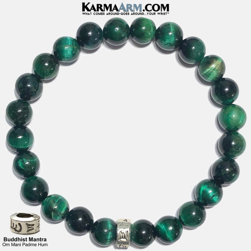 Om Mani Padme Hum Mantra Prayer Wheel Rondelle | Green Tiger Eye Bracelet