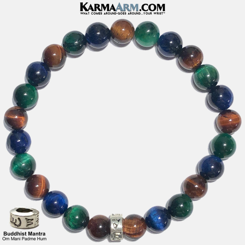 Om Mani Padme Hum Meditation Mantra Mindfulness Self-care Yoga Bracelets. Mens Wellness Wristband Jewelry. Red Green Blue Tiger Eye.