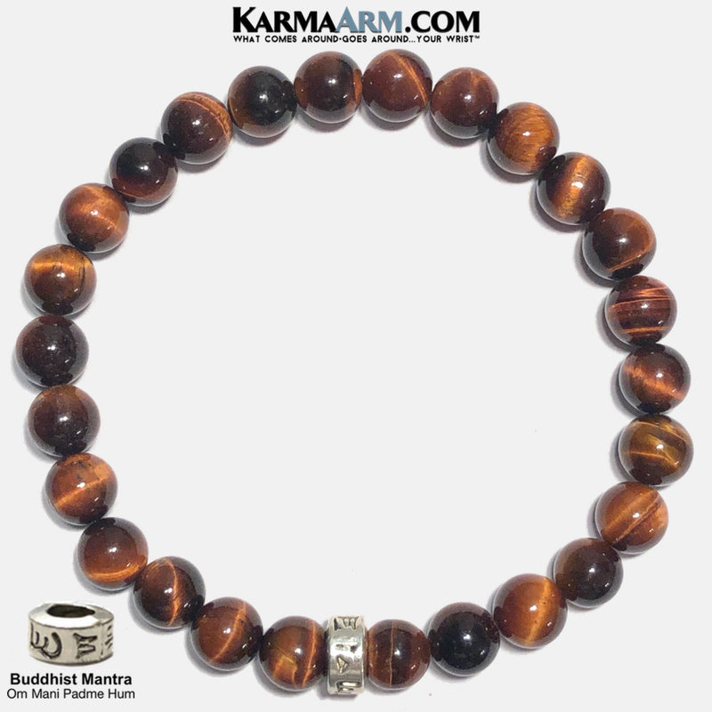 Om Mani Padme Hum Meditation Mantra Mindfulness Self-care Yoga Bracelets. Mens Wellness Wristband Jewelry. Red Tiger Eye.