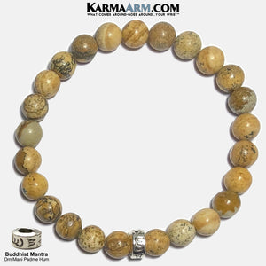 Om Mani Padme Hum Self-Care Meditation Wellness Yoga Bracelets. Mens Wristband Jewelry. Picture Jasper. copy 2