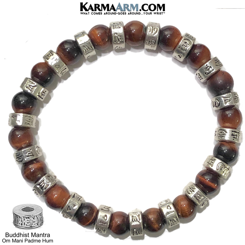 Om Mani Padme Hum. Yoga Bracelets. Meditation Jewelry.  Red Tiger Eye.