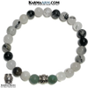 Om Mani Padme Hum Meditation Mantra Yoga Bracelet. Self-Care Wellness Wristband Tourmaline Quartz.