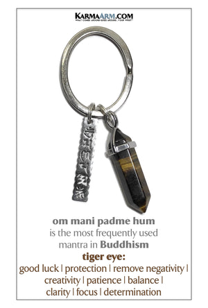 Om Mani Padme Hum Meditation Mantra Yoga Bracelets. Mens Wristband Jewelry. Tiger Eye.