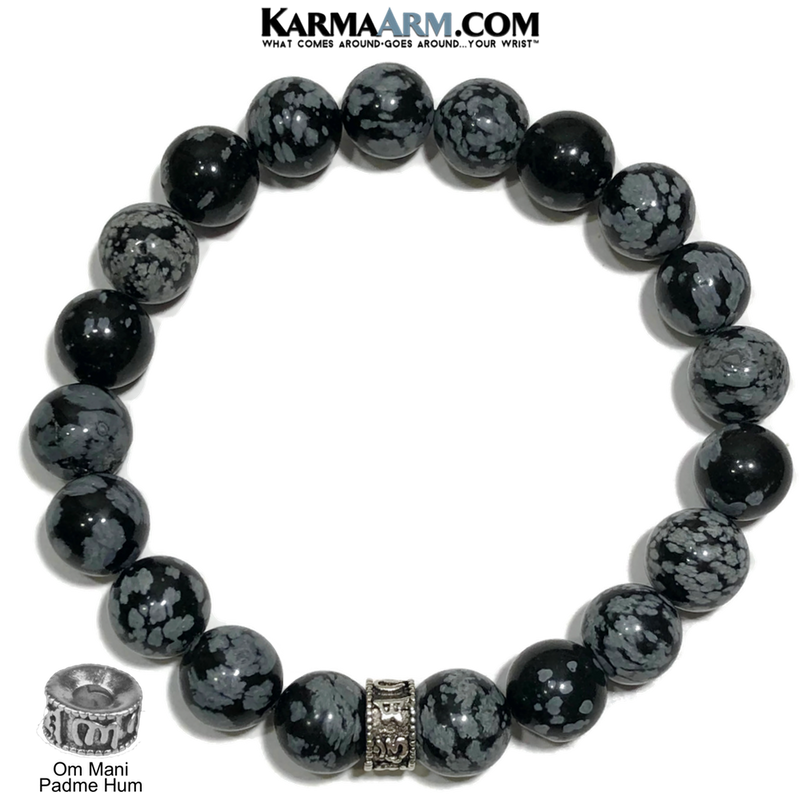 Om Mani Padme Hum Meditation Mens Bracelet. Self-Care Wellness Wristband Yoga Jewelry. Snowflake Obsidian. 10mm.