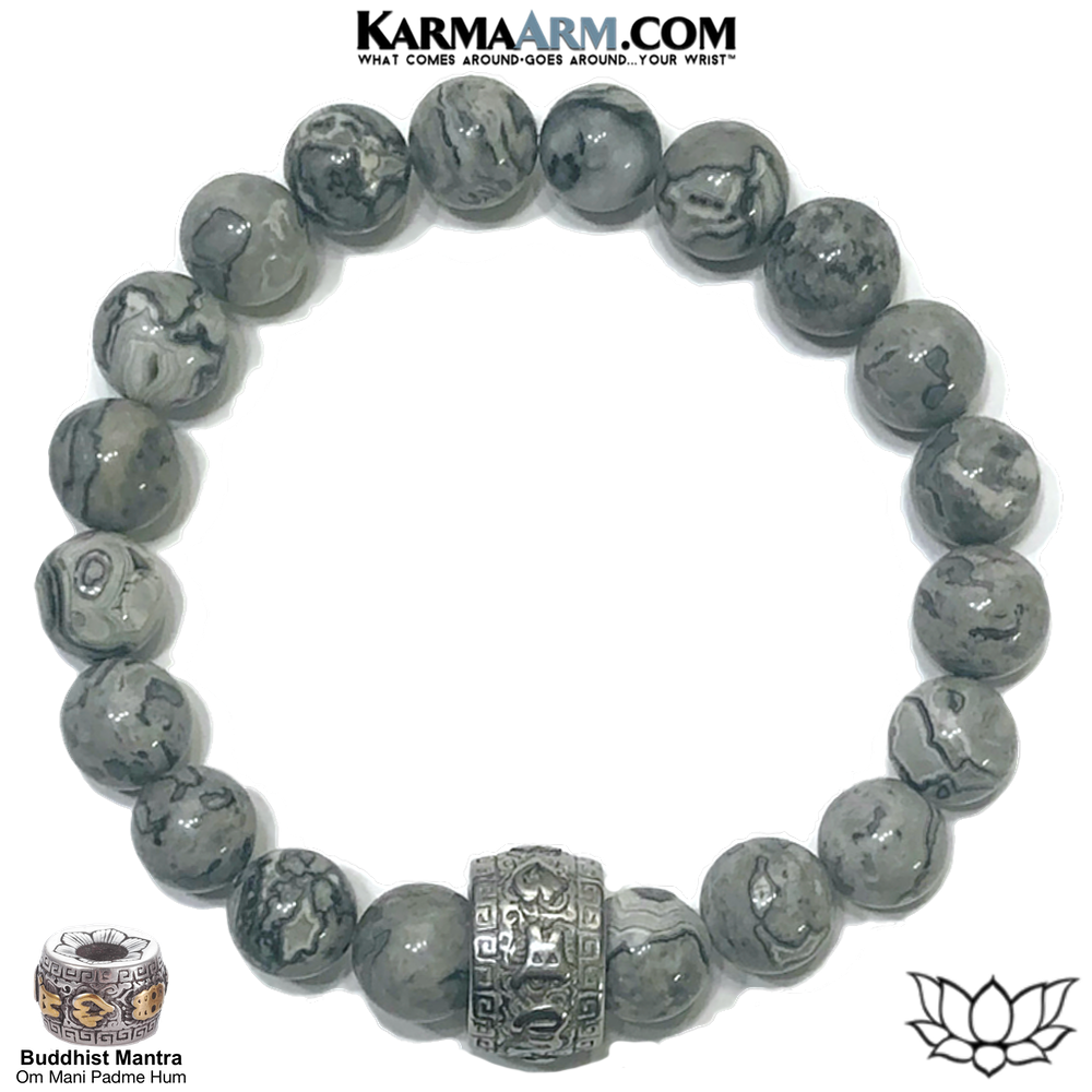 Om Mani Padme Hum Meditation Self-Care Wellness Mantra Yoga Bracelet. Bead Wristband. Crazy Lace Agate.