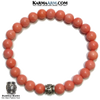 Om Mani Padme Hum Bead Meditation Self-Care Wellness Yoga Bracelets. Mens Wristband Jewelry. Pink Coral.
