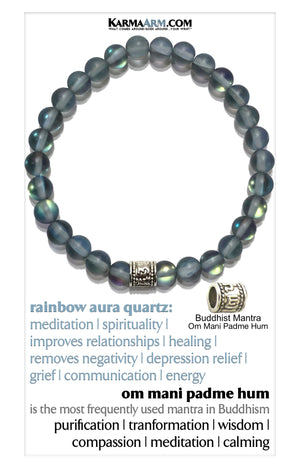 Om Mani Padme Hum Rainbow Quartz Yoga Meditation bracelets. self-care wellness wristband jewelry.