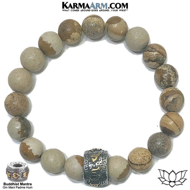 Om Mani Padme Hum Self-Care Meditation Wellness Yoga Bracelets. Mens Wristband Jewelry. Picture Jasper.