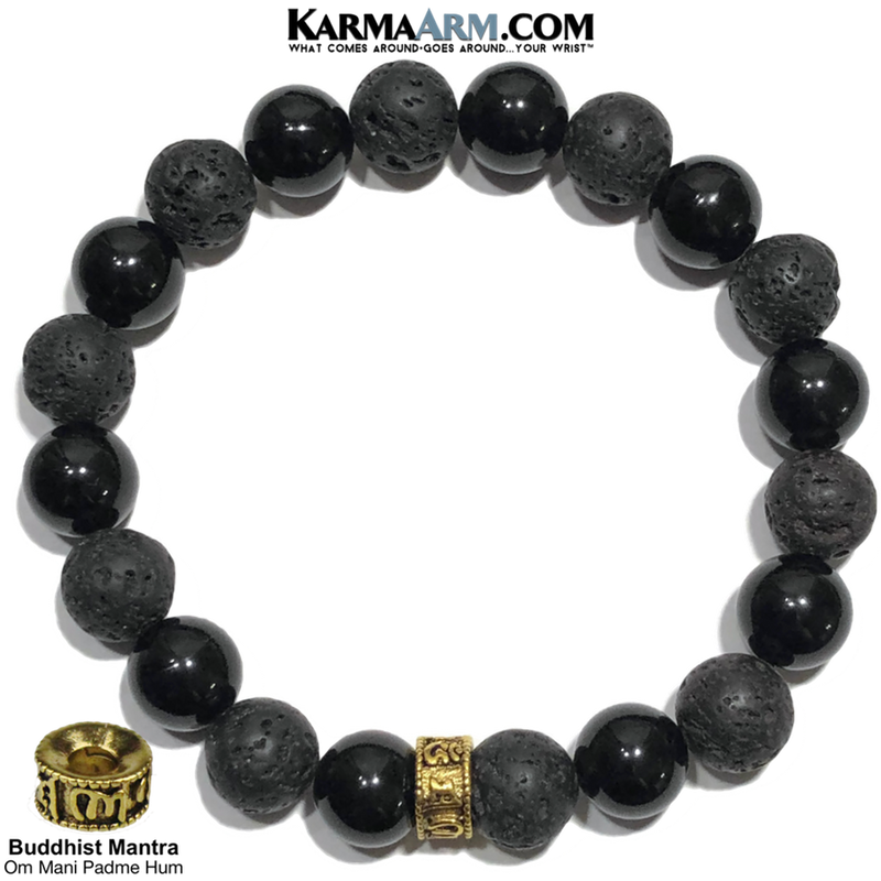 Om Mani Padme Hum Wellness Self-Care Meditation Yoga Bracelets. Mens Wristband Jewelry. Black Onyx. Gold.