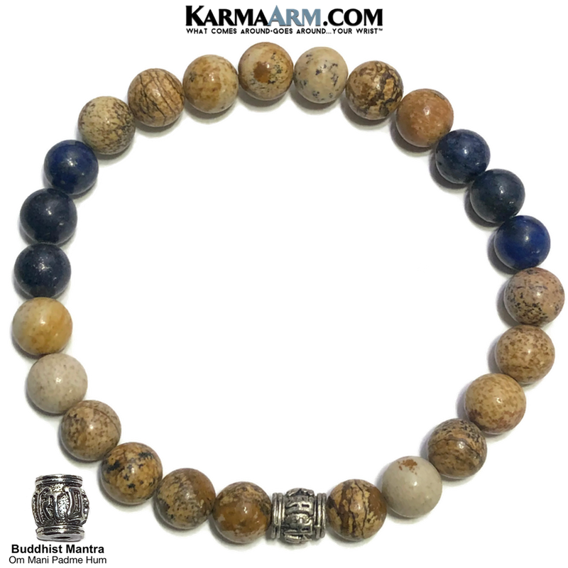 Om Mani Padme Hum Wellness Self-Care Meditation Yoga Bracelets. Mens Wristband Jewelry. Picture Jasper. Lapis.