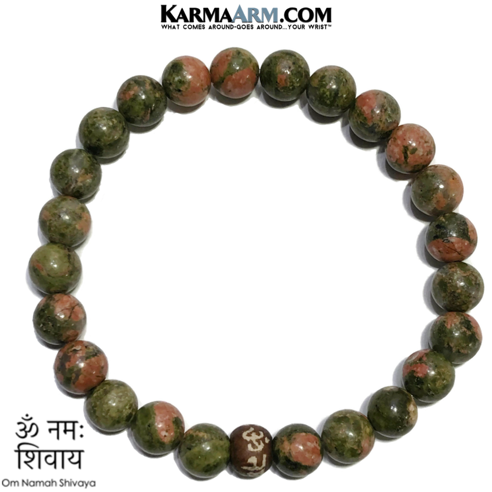 Om Namah Shivaya Bead Meditation Yoga Bracelets. Self-Care Wellness Wristband Jewelry. Unakite.