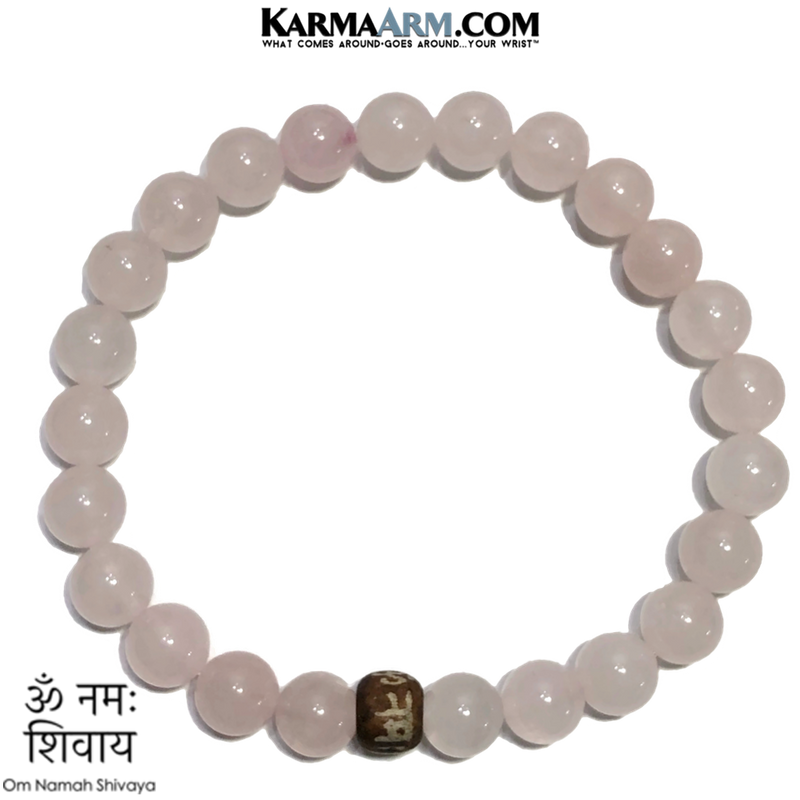 Om Namah Shivaya Meditation Self-Care Yoga Bracelet. Wellness Wristband Yoga Jewelry. Rose Quartz.